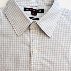 Micheal Kors gray/white gingham button shi…